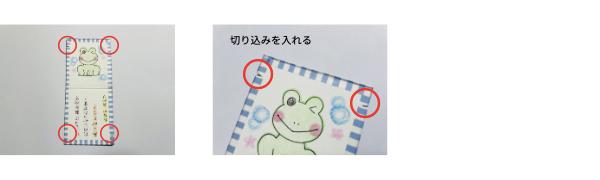 画像の4箇所に、輪ゴムをかけるための切り込みを入れる。