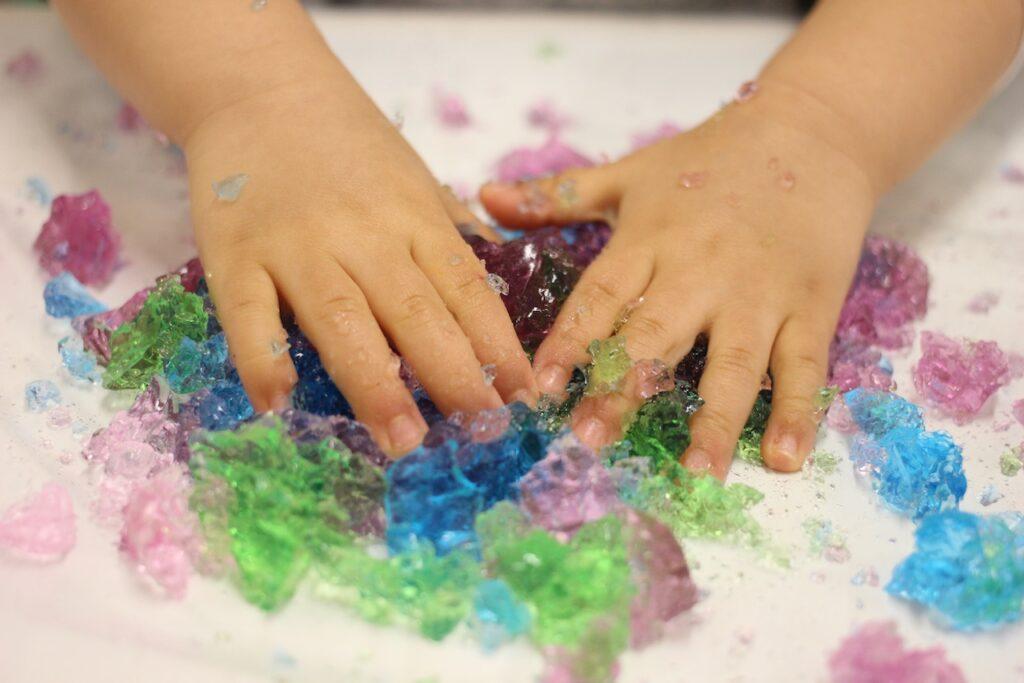 色水をゼラチンで固める