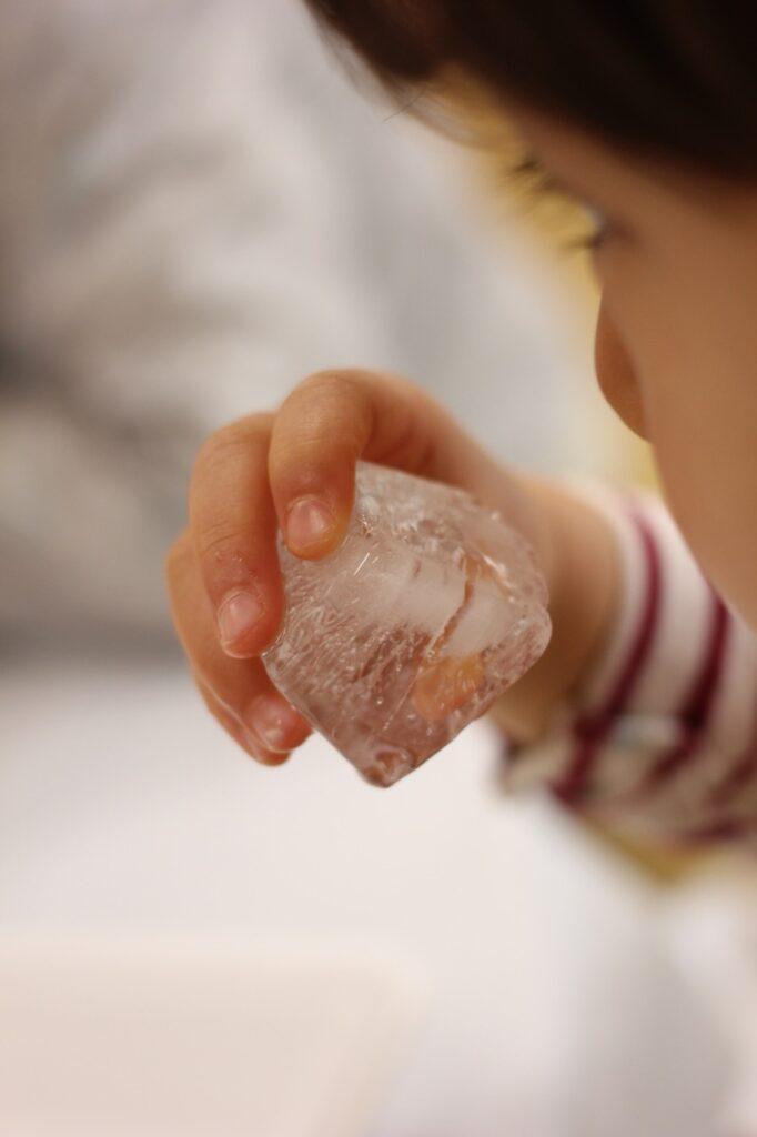 氷の匂いを確かめる子ども