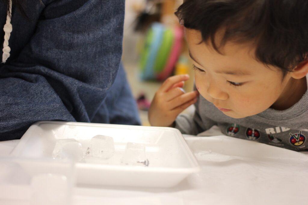氷の中を観察する子ども